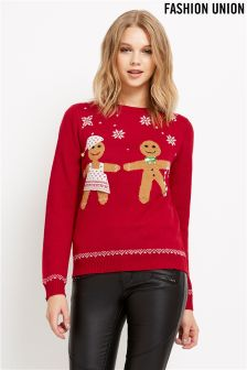 Fashion Union Novelty Gingerbread Chirstmas Jumper