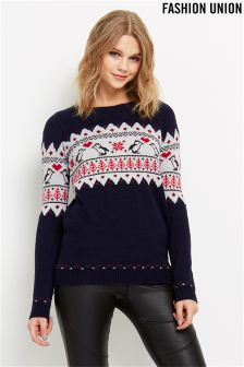 Fashion Union Kissing Penguin Novelty Jumper