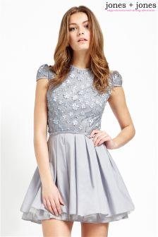 Jones + Jones Sequin Dress With Pleats