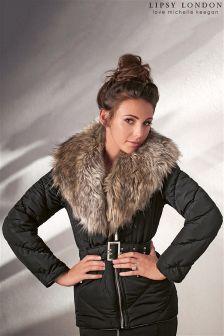 Lipsy Love Michelle Keegan Shawl Fur Puffer Jacket