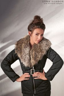 Lipsy Love Michelle Keegan Shawl Fur Puffer Jacket