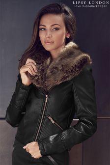 Lipsy Love Michelle Keegan Faux Fur PU Jacket