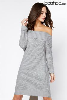 Boohoo Grey Soft Knit Bardot Dress