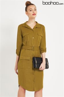 Boohoo Ella Tie Waist Pocket Shirt Dress