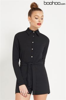 Boohoo Ribbed Shirt Style Playsuit