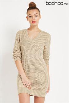 Boohoo Soft Knit V Neck Jumper Dress