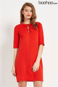 Boohoo Lace Up Front Shift Dress