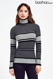 Boohoo Roll Neck Stripe Rib Knit Jumper