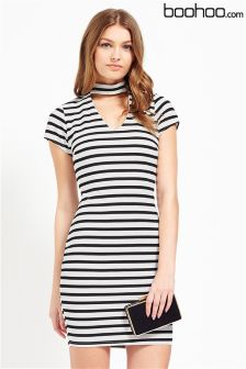 Boohoo Stripe Cut Out Bodycon Dress