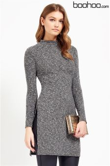 Boohoo Rib Knit Side Split Jumper