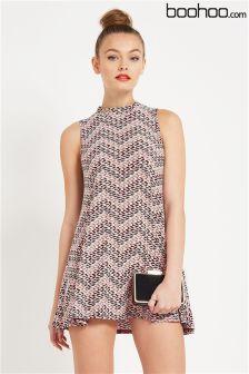 Boohoo Geo Print Sleeveless Swing Dress