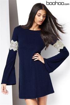 Boohoo Bell Sleeve Crochet Panel Dress