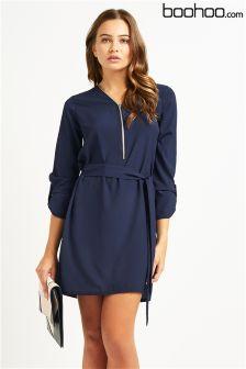 Boohoo Zip Front Belted Dress