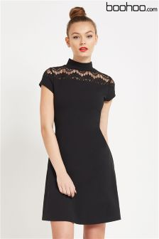 Boohoo High Neck Lace Panel Dress
