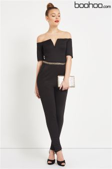Boohoo Gold Trim Bardot Jumpsuit