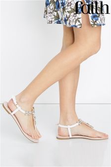 Faith Diamanté Flat Sandals