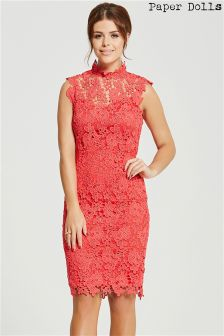 Paper Dolls High Neck Crochet Dress