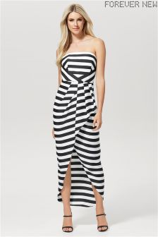 Forever New Stripe Strapless Wrap Dress