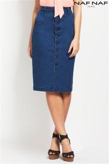 Naf Naf Denim Midi Skirt