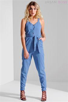 Urban Bliss Belted Button Front Sleeveless Denim Jumpsuit