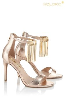 Soloro Metal Fringed Strappy Sandals