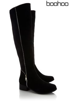 Boohoo Long Zip Detail Boot