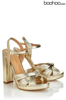 Boohoo Gold Knot Front Platform Two Part