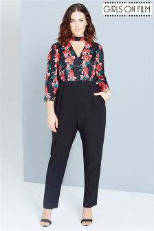 Girls On Film Curve Rose Print Jumpsuit With Keyhole