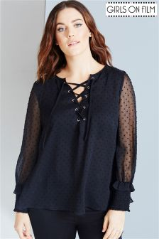 Girls On Film Curve Polka Dot Lace-up Blouse