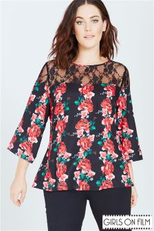 Girls On Film Curve Rose Print Top
