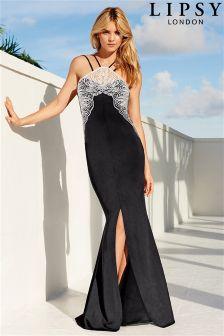 Lipsy Lace Trim Side Split Maxi Dress