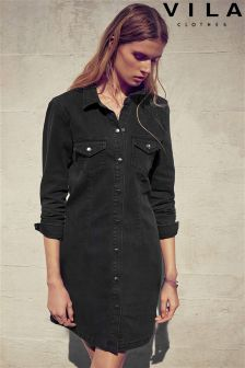Vila Long Sleeve Denim Shirt Dress