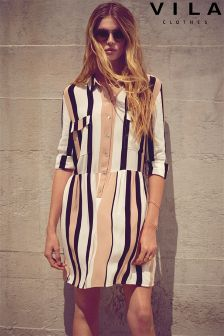 Vila Mutli Stripe Shirt Dress