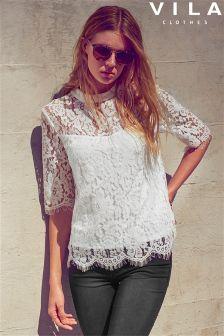 Vila 3/4 Length Sleeve Lace Overlay Top