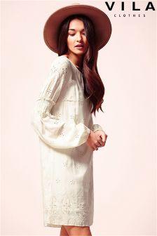 Vila Crochet Detailed Shift Dress