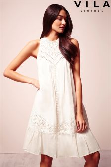 Vila High Neck Crochet Shift Dress