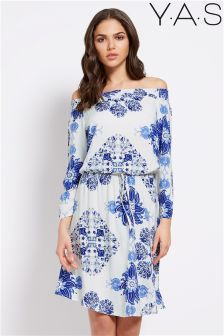 Y.A.S Floral Print Bardot Dress
