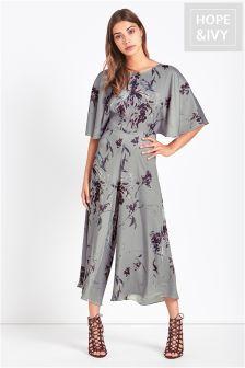 Hope And Ivy Kimono Sleeve Wide Leg Jumpsuit