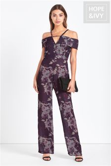 Hope And Ivy Cold Shoulder Jumpsuit