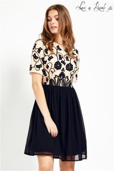 Lace & Beads Embroidered Skater Dress