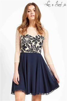 Lace & Beads Embellished Skater Dress