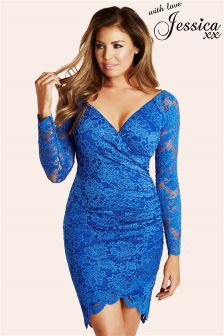 Jessica Wright Lace Wrap Front Bodycon Dress