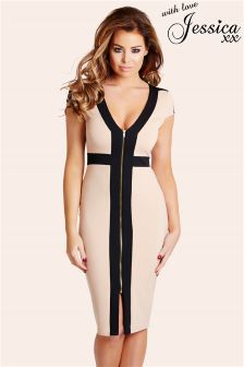 Jessica Wright Zip Front Bodycon Dress