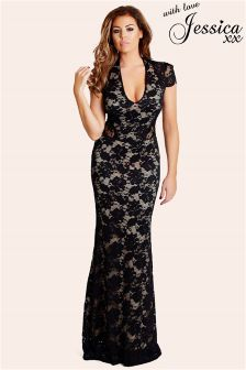 Jessica Wright Lace Cut Out Maxi Dress