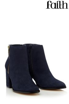 Faith Side Zip Block Heel Boots