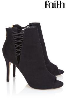 Faith Elastic Peeptoe Boots