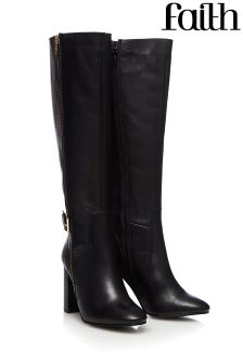 Faith Zip Buckle Knee High Boots