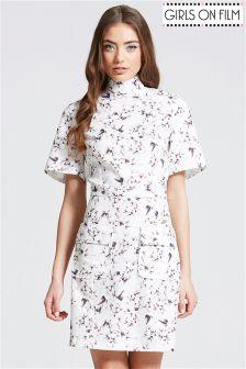 Girls On Film Floral Print High Neck Dress