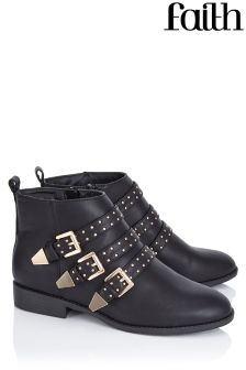 Faith Buckle Detail Stud Ankle Boots