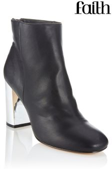 Faith Metalic Block Heel Ankle Boots
